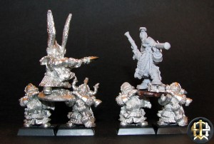Dwarf Lord and Shieldbearers comparison with my conversion.